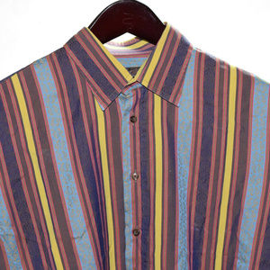 ETRO Size 41 Green Brown Red Stripe Long Sleeve